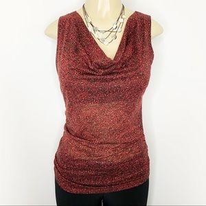 MAXMARA Red Sleeveless Cowl-neck Wool Blend Top M